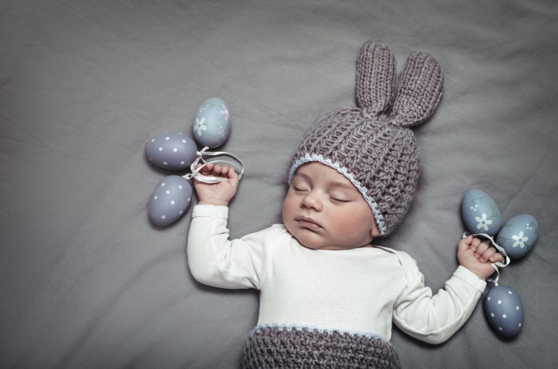 cute baby in easter bunny outfit