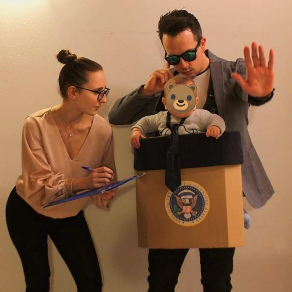 Francesca Soldà and family with DIY halloween costume for baby
